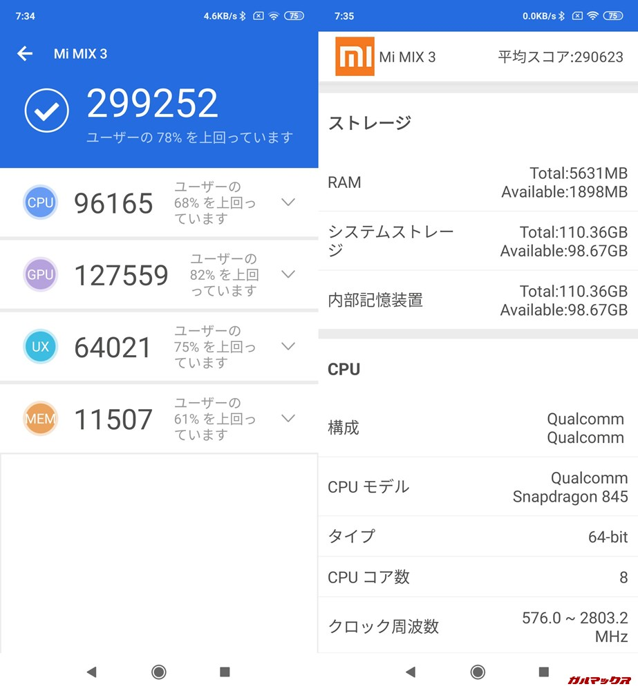 Xiaomi Mi MIX 3実機AnTuTuベンチマークスコアは総合が299252点、3D性能が127559点。