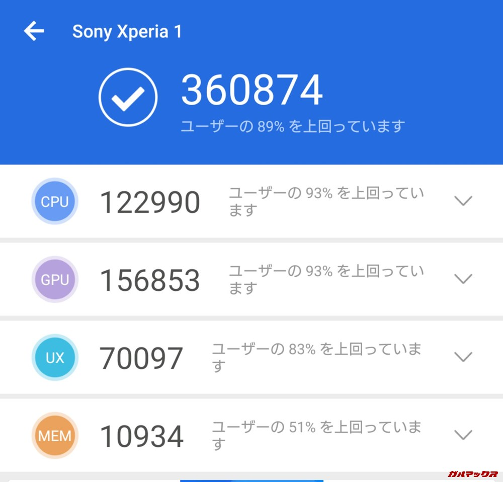 Xperia 1(Android 9)実機AnTuTuベンチマークスコアは総合が360874点、3D性能が156853点。