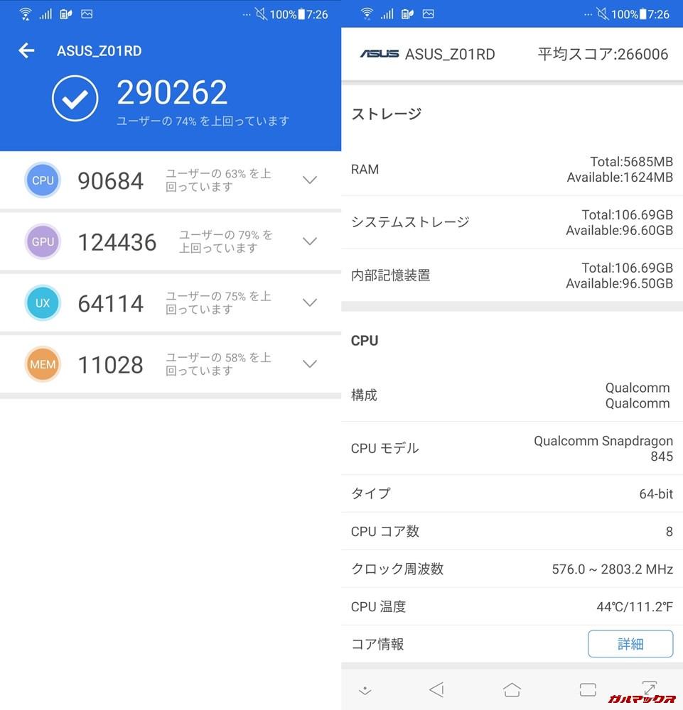 Zenfone 5Z(Android 9)実機AnTuTuベンチマークスコアは総合が290262点、3D性能が124436点。