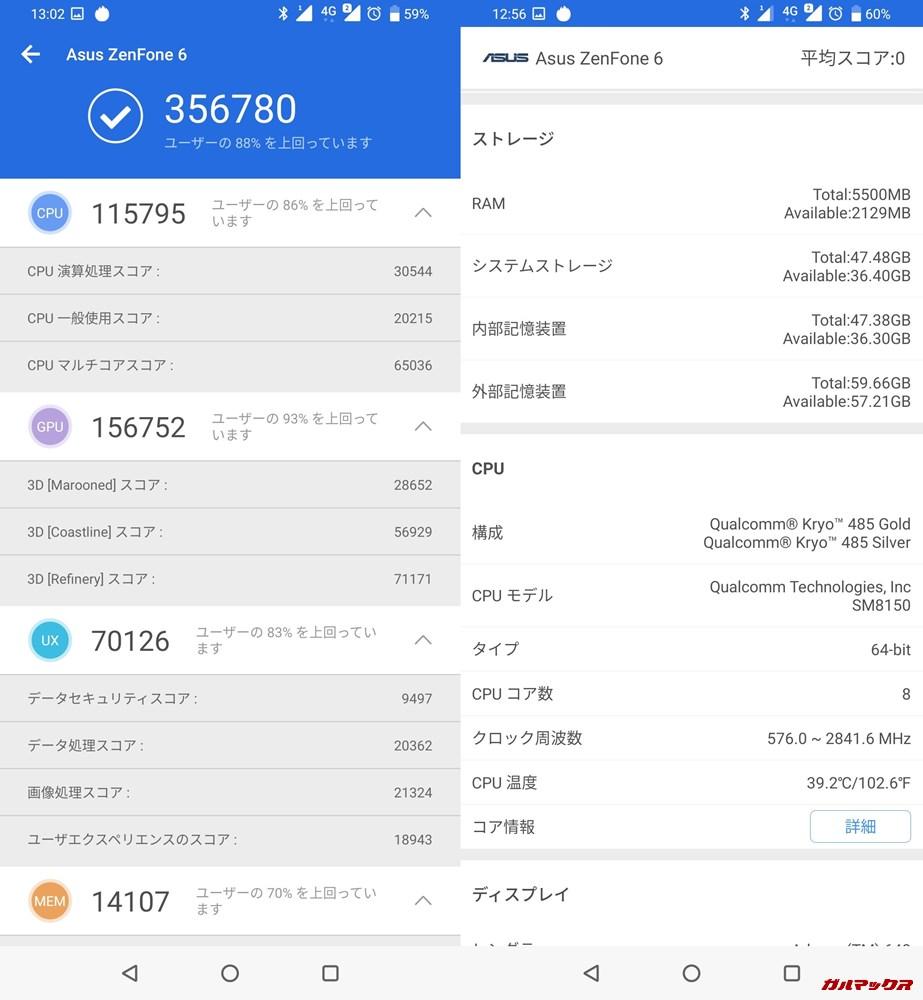 Zenfone 6実機AnTuTuベンチマークスコアは総合が356780点、3D性能が156752点。