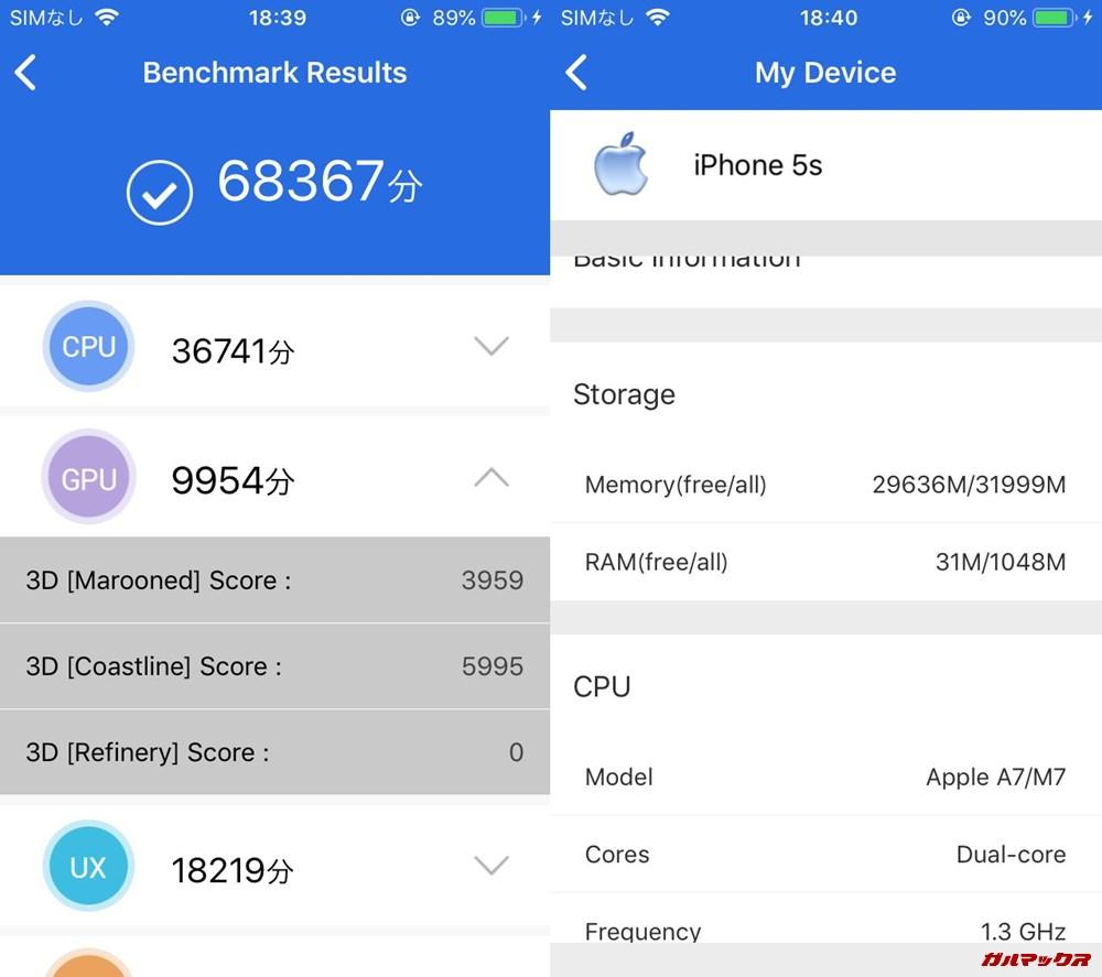 iPhone 5s(iOS12.1.2)実機AnTuTuベンチマークスコアは総合が68367点、3D性能が9954点。
