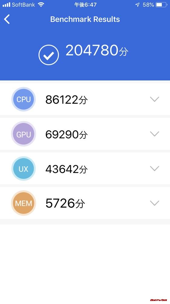 iPhone 7(iOS 12.1)実機AnTuTuベンチマークスコアは総合が204780点、3D性能が69290点。