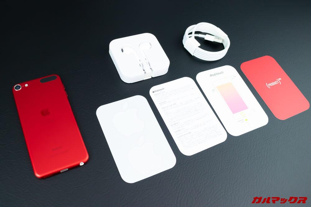 iPod touch(第7世代)の付属品はイヤホンやケーブル、簡易冊子などアップルらしいシンプルなもの