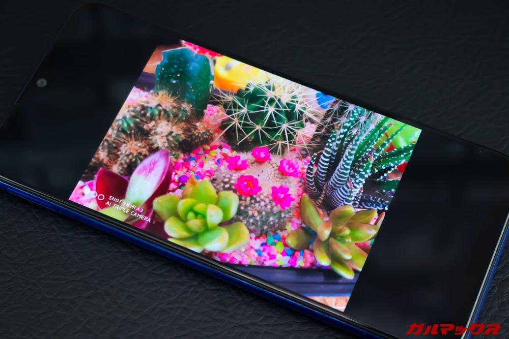 Xiaomi Mi A3は有機ELディスプレイを搭載しているので発色が非常に良い。