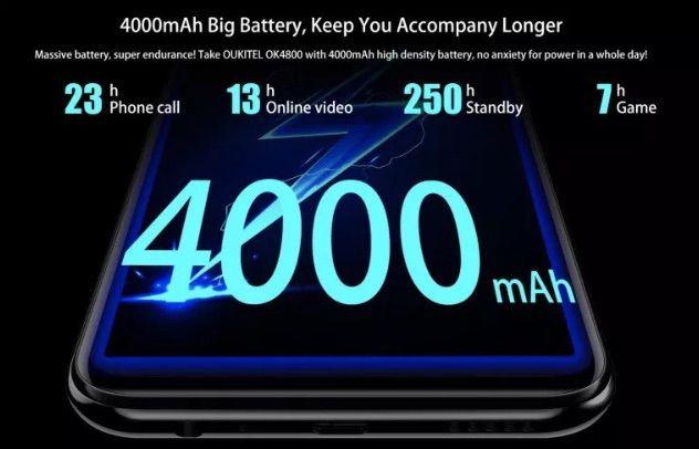 OUKITEL Y4800は大容量な4000mAhバッテリーを搭載