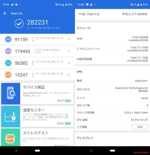 Pixel 3 XL(Android 9)実機AnTuTuベンチマークスコアは総合が282231点、3D性能が119443点。