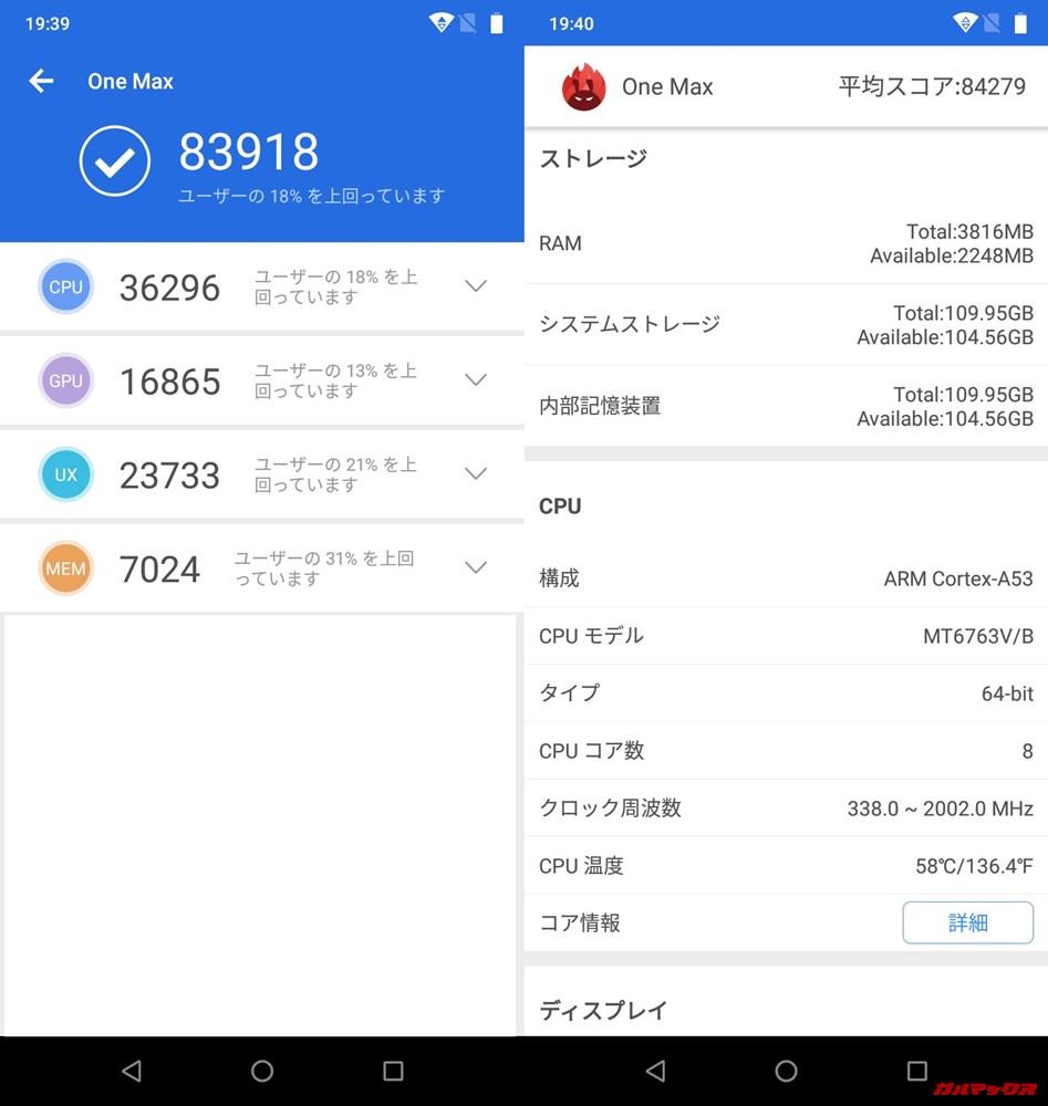 UMIDIGI One Max(Android 8.1)実機AnTuTuベンチマークスコアは総合が83918点、3D性能が16865点。