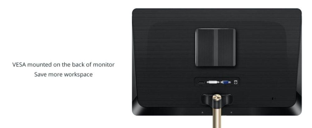 XCY X30 Mini PCはコンパクトなのでモニター裏にも設置可能!
