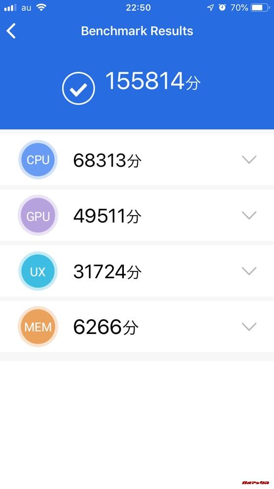 iPhone 6s(iOS 12.4)実機AnTuTuベンチマークスコアは総合が155761点、3D性能が49597点。