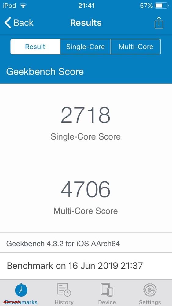 iPod touch(第7世代)の実機Geekbench 4スコアはシングルコアが2718点、マルチコアは4706点