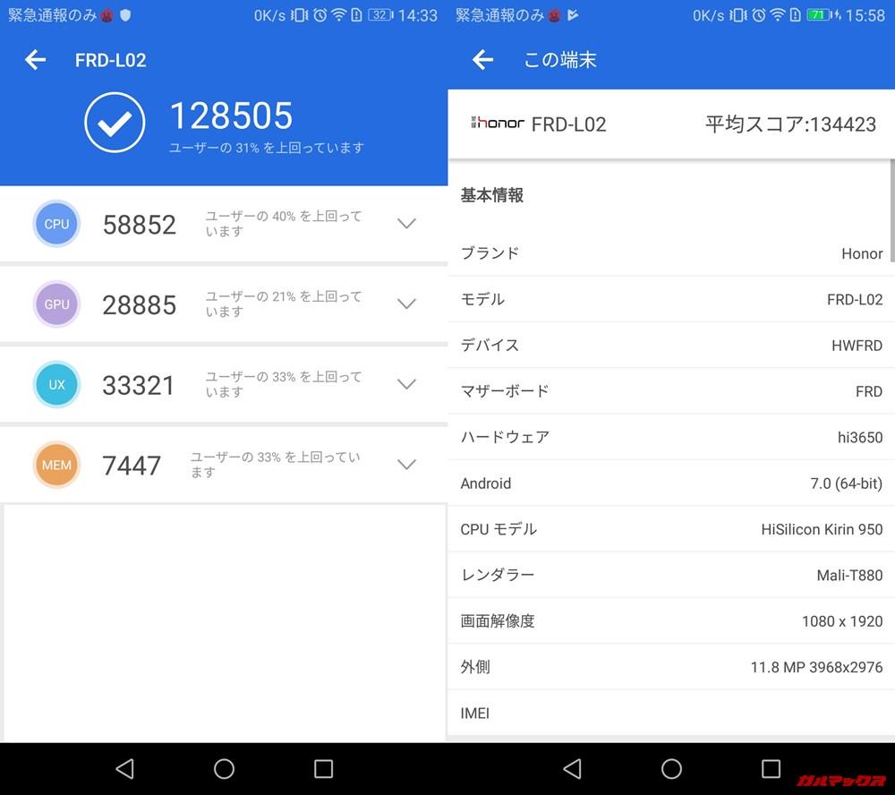 Huawei honor 8(Android 7)実機AnTuTuベンチマークスコアは総合が128505点、3D性能が28885点。