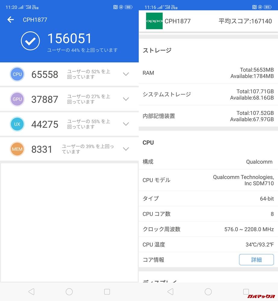 OPPO R17 PRO(Android 8)実機AnTuTuベンチマークスコアは総合が156051点、3D性能が37887点。