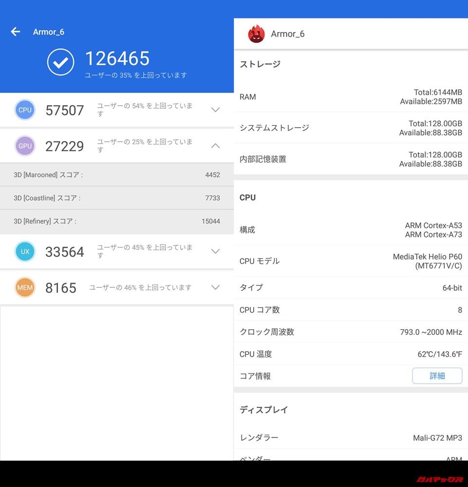Ulefone Armor 6(Android 8.1)実機AnTuTuベンチマークスコアは総合が126465点、3D性能が27229点。