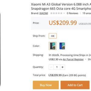 この端末300ドルくらいだったよね?Xiaomi Mi A3が209.99ドルで手に入るぞ!