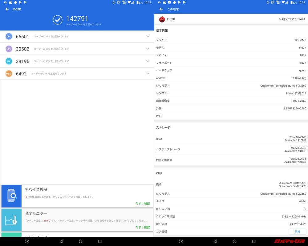 arrows Tab/メモリ4GB(Android 8.1)実機AnTuTuベンチマークスコアは総合が142791点、3D性能が30502点。