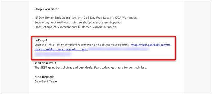 アカウント作成時に確認メールがGEARBESTから届きます
