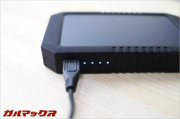 本機はソーラー充電以外にもUSB経由の充電が可能なので、通常のモバイルバッテリーと使い勝手は変わりません