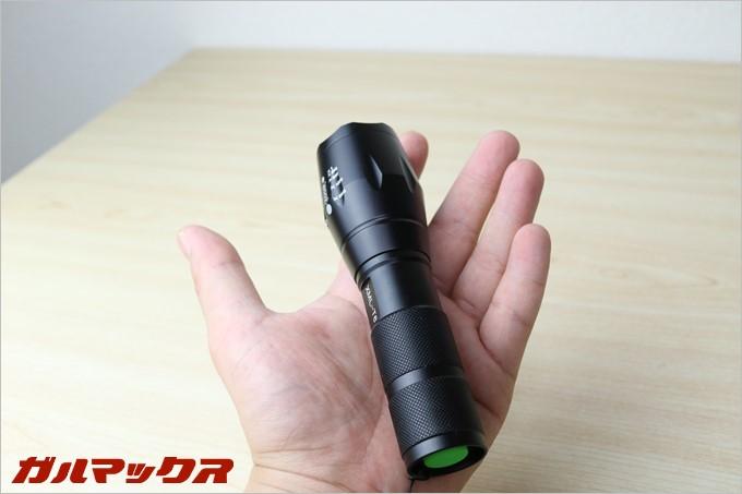BINWOのLED懐中電灯は片手に収まるサイズ感です