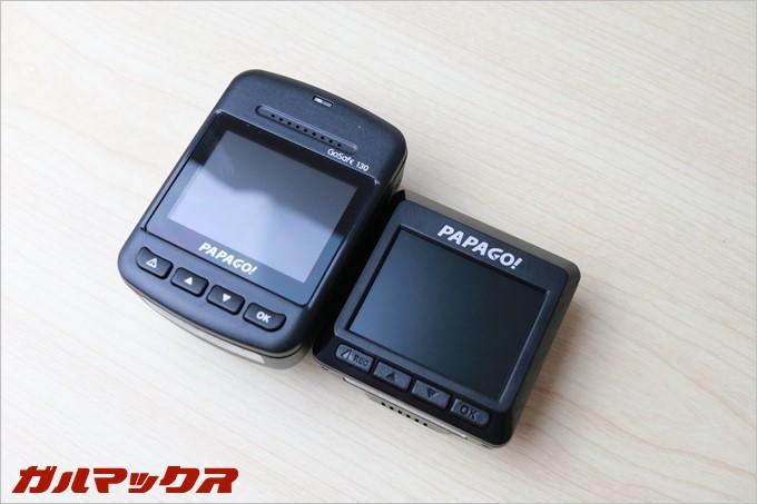 PAPAGO!のドラレコGoSafe 130ではコストを削減する為に光沢の液晶となっている