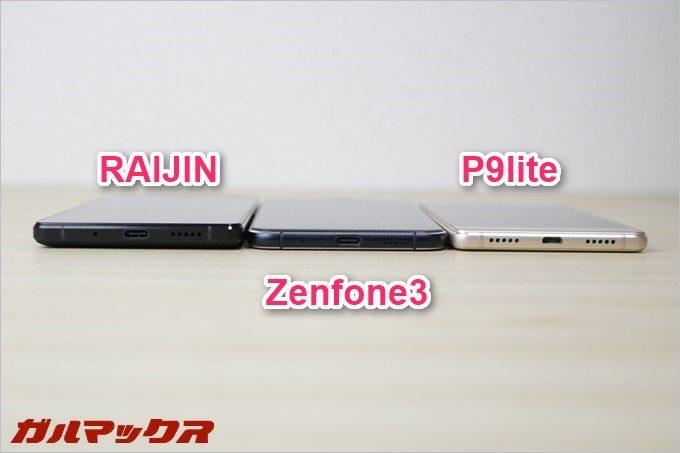 RAIJINは大容量バッテリーを搭載しているので若干厚いです。