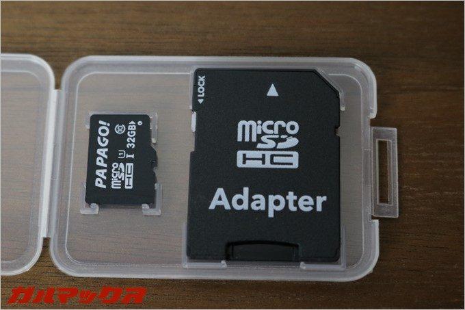 GoSafe 30Gに付属のMicroSDは、PAPAGO!と書かれたオリジナルモデル。