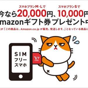 AmazonのワイモバイルSIMは最大20,000円分のAmazonギフト付き!