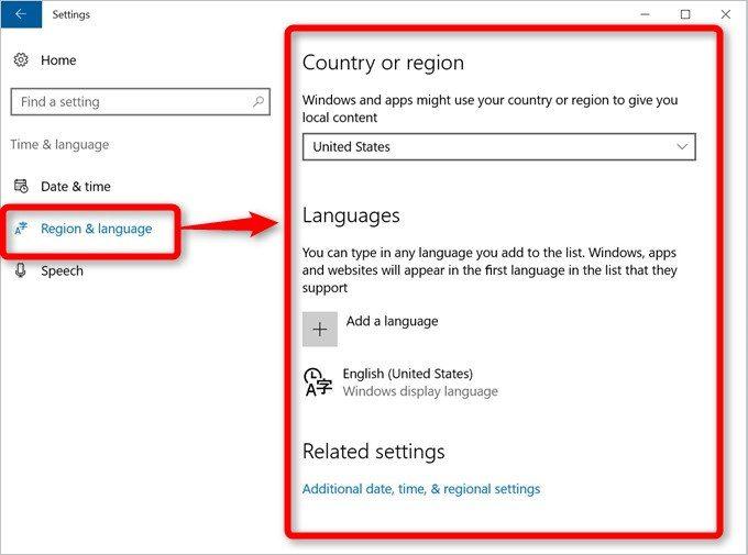 Region & languageを選択して言語選択画面へ移動しましょう。