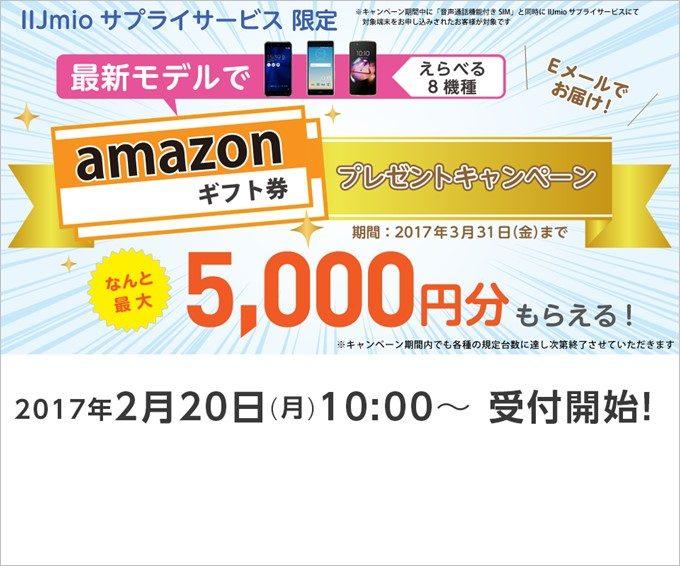 IIJmioのAmazonギフト券プレゼントキャンペーン
