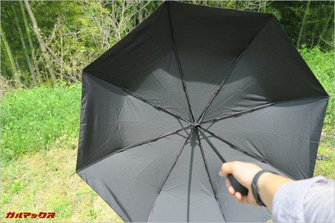 傘がボンッと開きます。