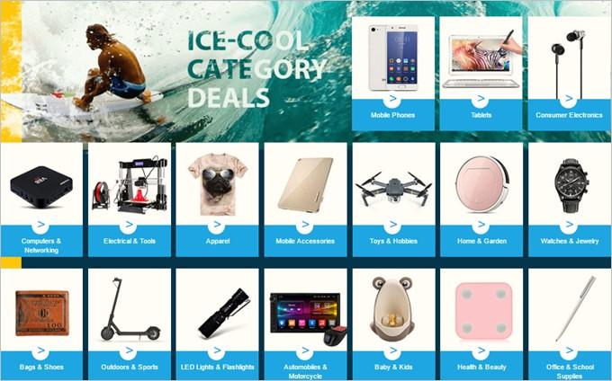 カテゴリー別で製品をチェック出来るICE-COOL CATEGORY DEALS