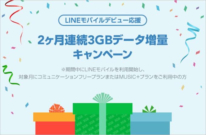 2ヶ月連続3GBデータ増量キャンペーン