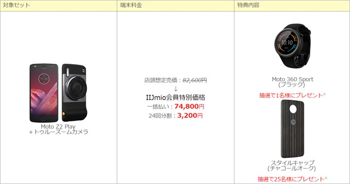 Moto Z2 PlayとZoomカメラのセットで価格が74,800円