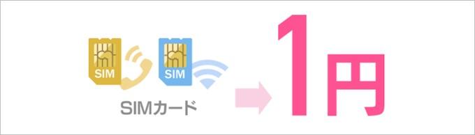 通常3,000円のSIMカード代金が1円になるイオンモバイルのキャンペーン