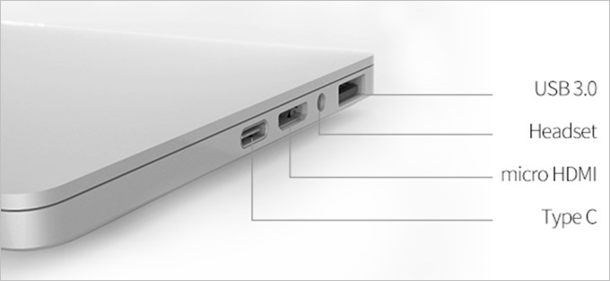GPD Pocketは小型ながらUSB-C、USB-A(3.0}、miniHDMI、ヘッドセット端子を備える
