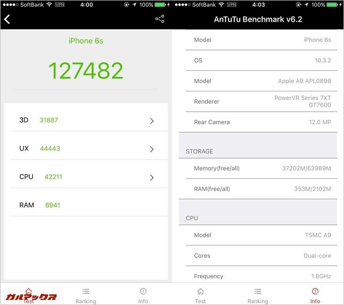 iPhone 6s(iOS 10.3.2)の2台目実機AnTuTuベンチマークスコアは総合が127482点、3D性能が31887点。