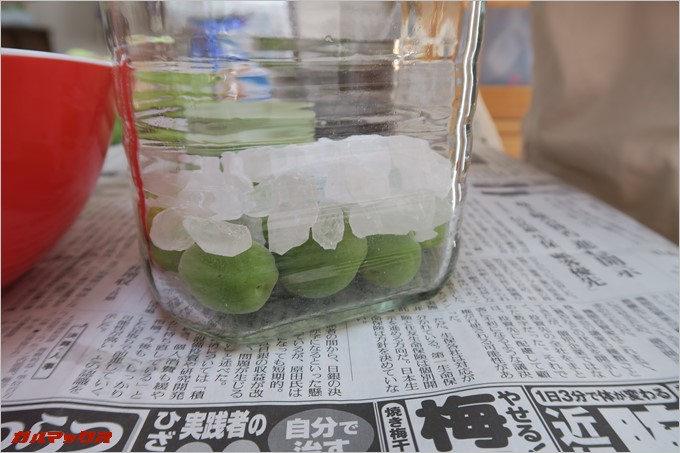 梅→瓶の順で層を作ります