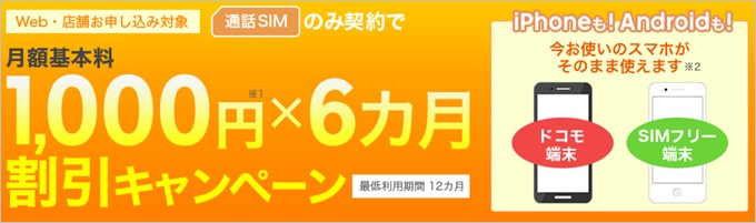 楽天モバイルで通話SIMを申込むと半年間毎月1,000円割引