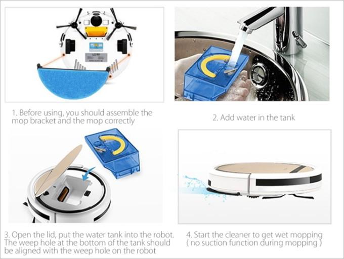 水タンクを利用する事で水拭きロボットとしても利用できる。