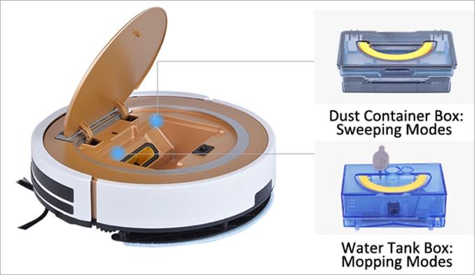 ILIFE X5はダストボックスと水タンクがそれぞれ付属している