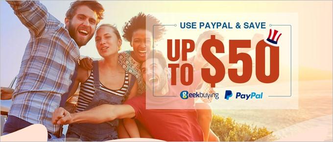 geekbuyingがPayPal支払いで最大50ドルOFFのキャンペーンを開催!