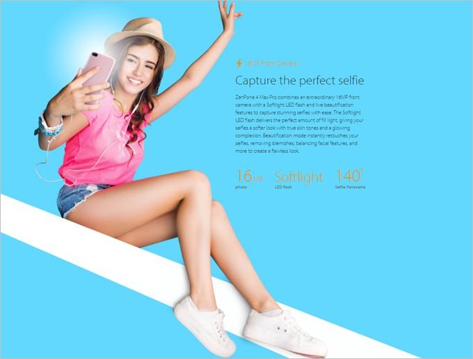 Zenfone 4 Max Proはフロントカメラにも1600万画素カメラとフラッシュを搭載